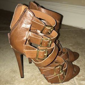 Brown Buckle Heels